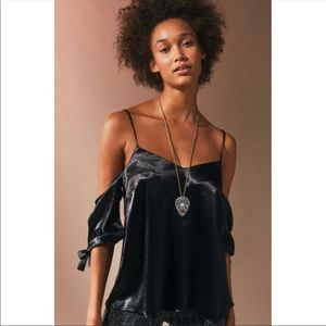 NWT UO Silence + Noise Shiny Cold Shoulder Tie Top
